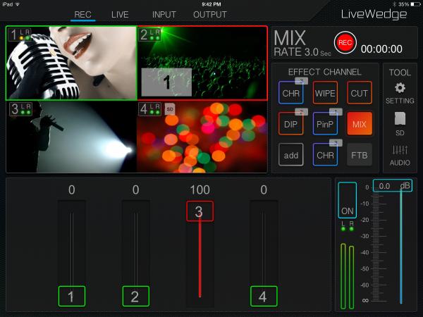iPadアプリ「LiveWedge App」の操作画面